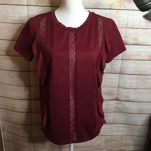 Express red wine short sleeves shirt size L